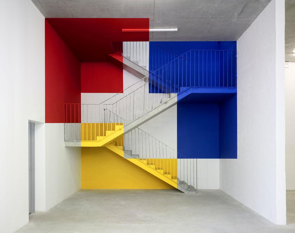 """""""Trois carrés évidés, rouge jaune et bleu"""""""