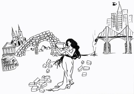 La arqueología como nexo de unión entre el pasado y el presente. Dibujo de Juani Medina.