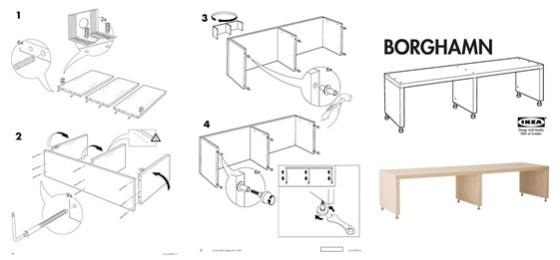 Instrucciones y fotografía de la mesa, modelo BORGHAMN, Ikea.
