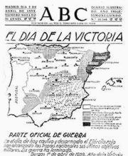 Foto 1. Objetiva portada del diario ABC, al finalizar la Guerra Civil española.