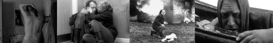 Fotogramas de la películaSkammen (1968) de Ingmar Bergman  La cinta muestra la huida que emprenden una pareja de músicos, que decidieron irse a vivir solos a una isla, tras perder todo aquello que tenían por verse inmersos en una guerra. Los distintos espacios en los que se desarrollan las escenas contextualizan la relación entre la pareja, poniendo de manifiesto la importancia de los mismos en todo aquello que sentían