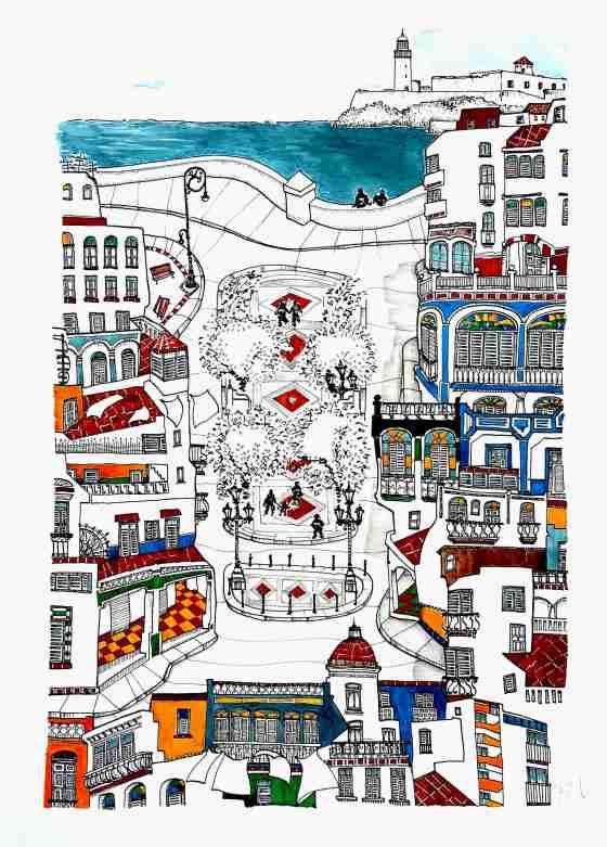 'Prado y Malecón'. 36 x 50 cm Tinta, acuarela y grafito sobre papel Caballo. © Agnes Fong