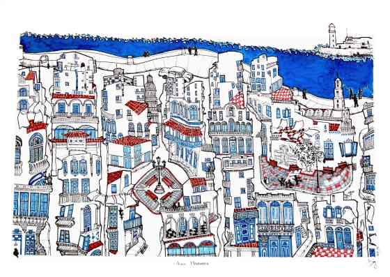 'Azul Habana'. 50 x 70 cm Tinta color/papel Caballo. © Agnes Fong