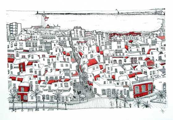 """'Almería desde la Alcazaba'. 70 x 50 cm Tinta, acuarela y grafito/ papel Caballo. © Agnes Fong.  """"Este es mi dibujo favorito, al menos hasta ahora. El barrio de Almedina con sus tejados, terrazas, pequeñas casitas, todo visto desde el castillo de la Alcazaba."""""""