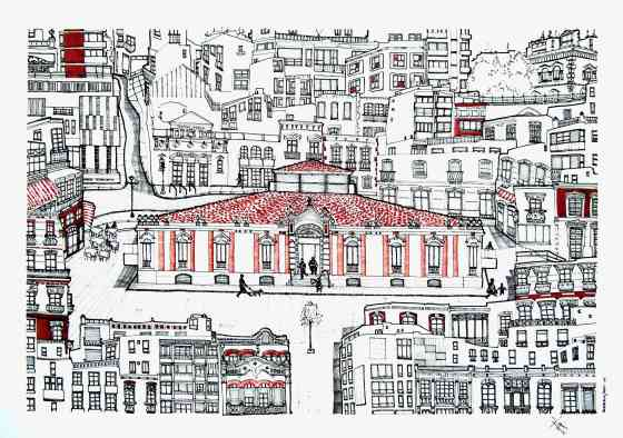 'Mercado Central de Almería'. 70x 50 cm Tinta, acuarela y grafito/ papel Caballo.  © Agnes Fong