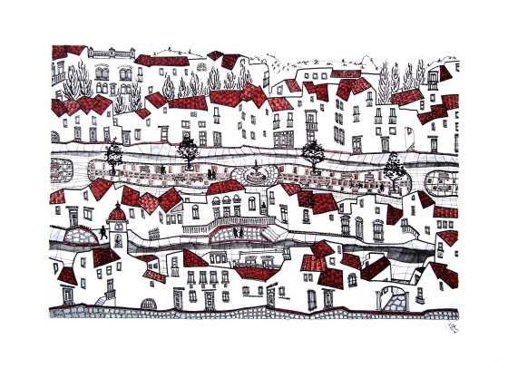 Paseo horizontal. 70 x 50 cm Tinta, acuarela y grafito/ papel Caballo. © Agnes Fong