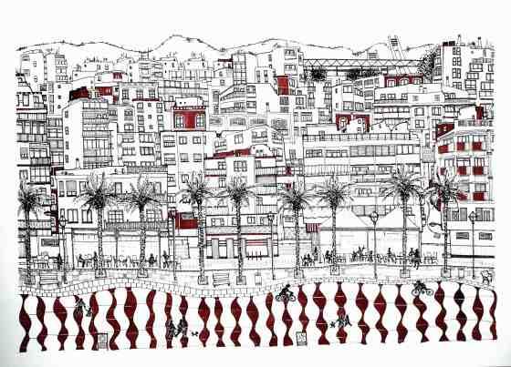 'Paseo Marítimo II'. Tinta y lápiz sobre papel. © Agnes Fong
