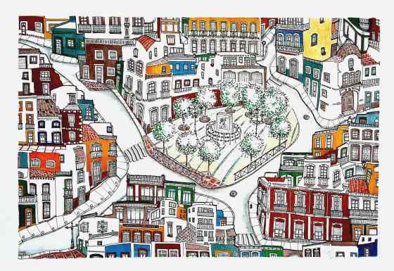 """'Plaza Valente'. 70 x 50 cm Tinta, acuarela y grafito/ papel Caballo. © Agnes Fong.  """"Es difícil explicar un dibujo. Es difícil explicar cómo vemos o cómo transmitimos lo que vemos. Es difícil explicar una imagen cuando pones en ella, sin palabras, lo que ven tus ojos. Y este dibujo es una parte de la ciudad que transcurre alrededor. Así veo aparecer las plazas y las calles, las casas y los árboles, las ventanas, los techos, los colores de la ciudad. Así veo. Sin palabras."""""""