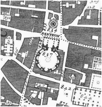 Detalle del Panteón de Roma representado en un grabado de la'NuovaPianta di Roma Data in Luce da GiambattistaNollil'Anno MDCCXLVIII'