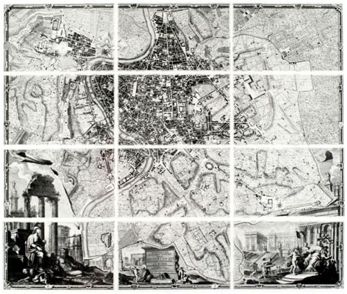 12 grabados de la'NuovaPianta di Roma Data in Luce da GiambattistaNollil'Anno MDCCXLVIII'