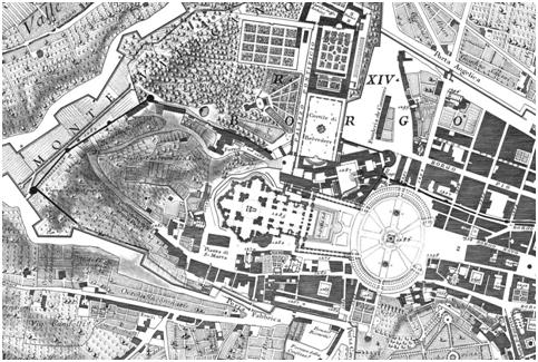 Grabado de la zona de El Vaticanoperteneciente a la 'NuovaPianta di Roma Data in Luce da GiambattistaNollil'Anno MDCCXLVIII'