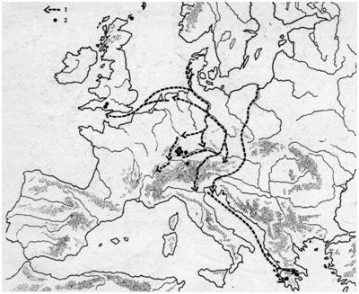 Europa: principales rutas de comercio e intercambio del ámbar, a mediados del segundo milenio A.C.) Stuart Piggott, Ancient Europe, Aldine-Atherton, Chicago, 1965, p. 138).