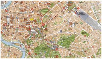 Plano turístico de la ciudad de Roma