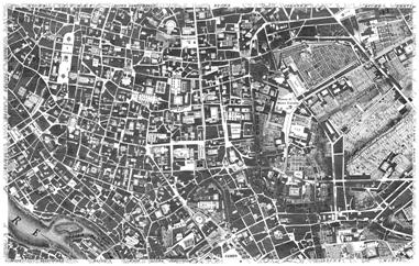 Grabado de la zona centro de Roma perteneciente a la 'NuovaPianta di Roma Data in Luce da GiambattistaNollil'Anno MDCCXLVIII'
