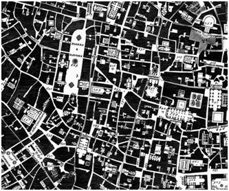 Fragmento del grabado de la zona centro de Roma perteneciente a la 'NuovaPianta di Roma Data in Luce da GiambattistaNollil'Anno MDCCXLVIII'