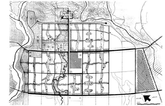 Plan de Chandigarh (India) desarrollado por Le Corbusier en los años cincuenta.
