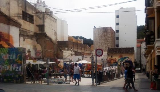 Actividades vecinales en un solar del barrio las Lagunillas (Málaga)