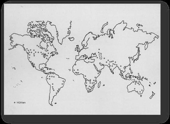 Mapa sobre la existencia de cabañas menstruales de la exposición alemana de 1998, Menstruación, cambios en la higiene menstrual desde 1900 a la actualidad. Extraído de la página www.mum.com, sitio web oficial del Museo de la menstruación y la salud femenina.
