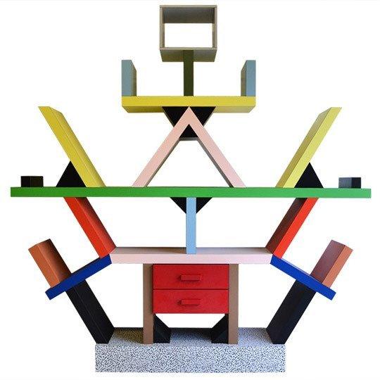 Estantería diseñada por Ettore Sottsass, Italia, 1980