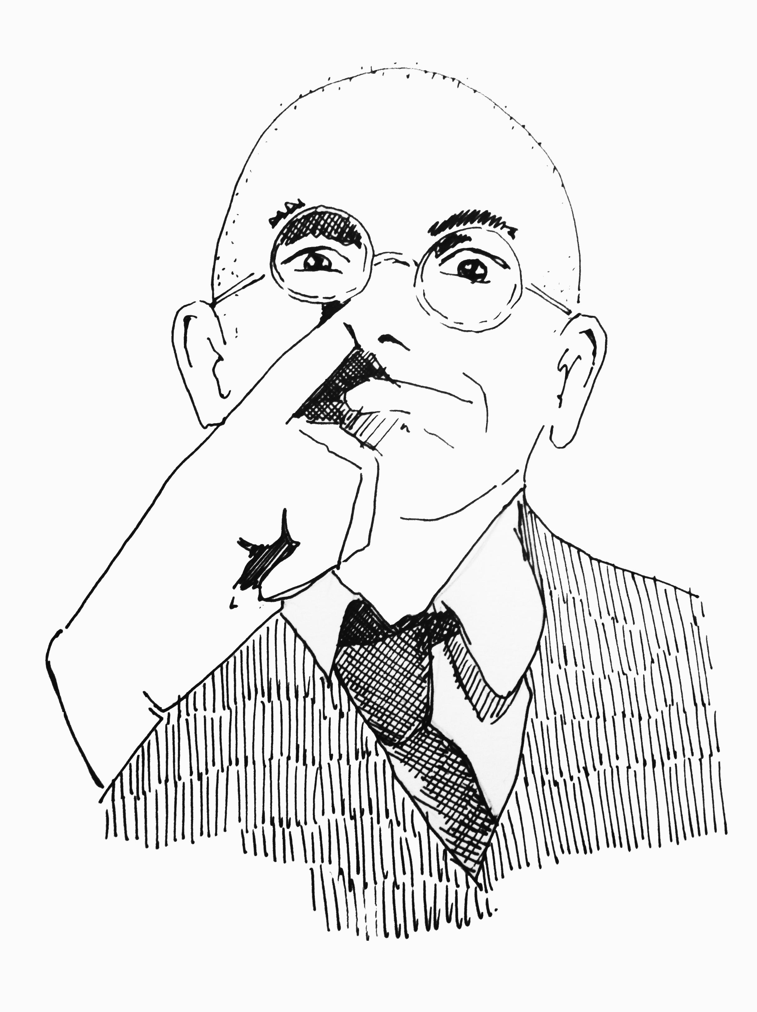 George Maciunas en 1968, dibujo © Nuria Prieto, 2015.