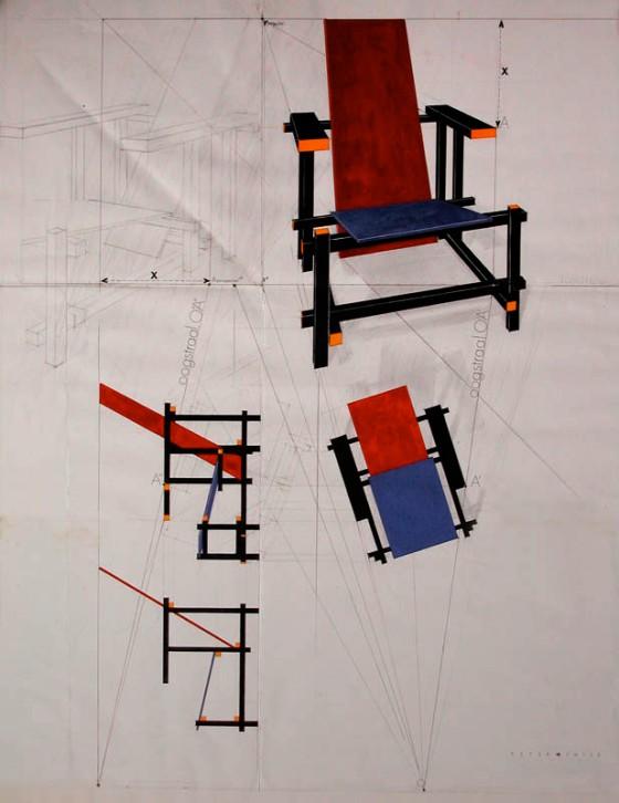 Dibujo del holandés Gerrit Rietveld, silla Roja y Azul