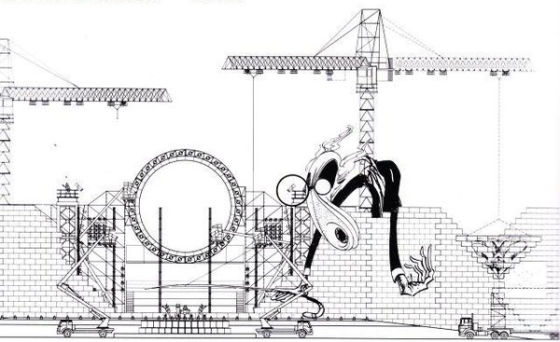 """Estudios para la escenografía """"The Wall"""" de un concierto de Pink Floyd por Mark Fisher."""